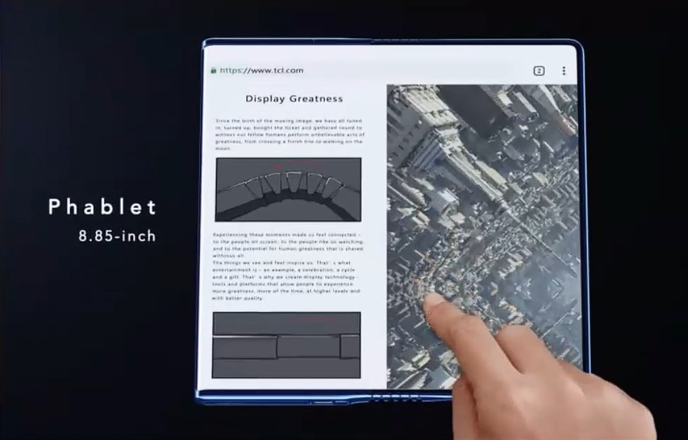 TCL показала смартфон Fold'n'Roll, экран которого складывается и растягивается