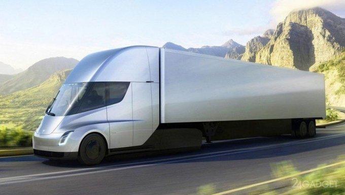Обнародовано видео с реально движущимся электрическим грузовиком Tesla Semi (видео)