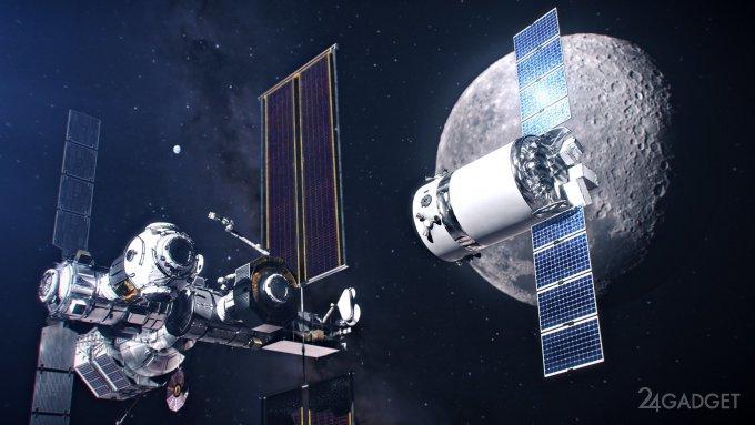 NASA показала рендеры грузового корабля SpaceX Dragon XL на фоне Луны и станции Gateway (4 фото)