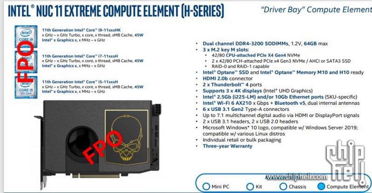 Intel выпустит вычислительные модули NUC 11 Compute Element на базе процессоров Tiger Lake-H