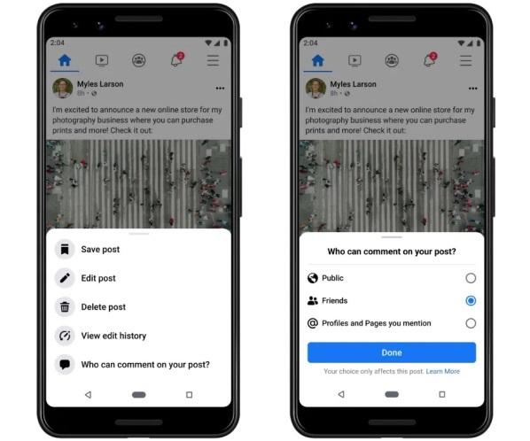 Пользователи Facebook теперь могут ограничивать комментарии к своим постам и фильтровать новостную ленту
