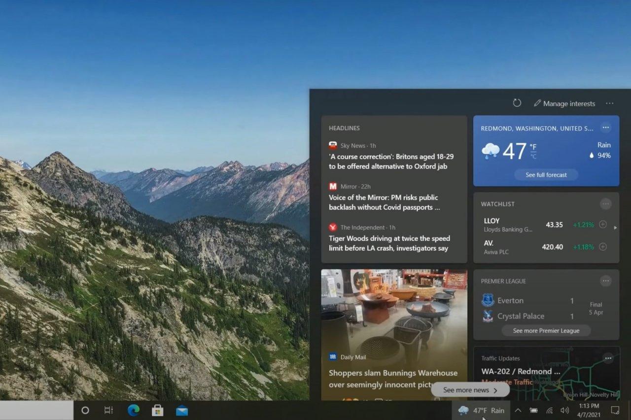 Виджет «Новости и интересы» стал доступен в сборках Windows 10 21H1, 20H2 и 2004
