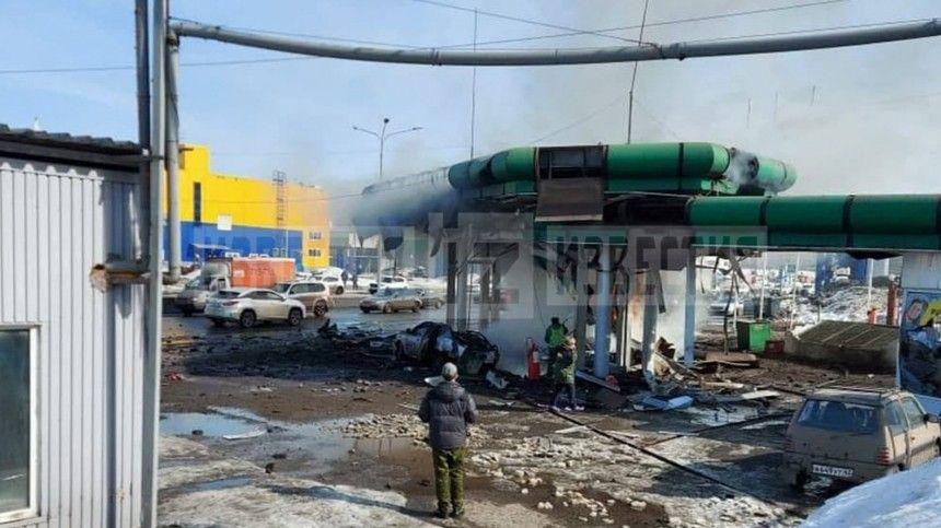Громкий хлопок и дымовая завеса: момент взрыва автозаправки в Новокузнецке попал на видео