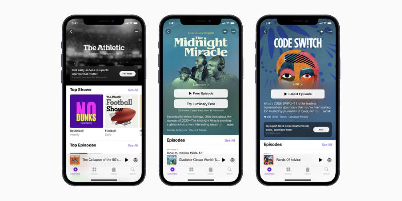 Apple представила обновлённые «Подкасты» — красивые и с премиум-подпиской