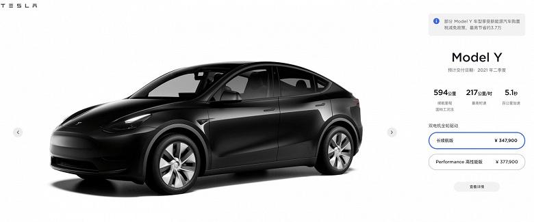 Электромобили Tesla Model Y в Китае подорожали