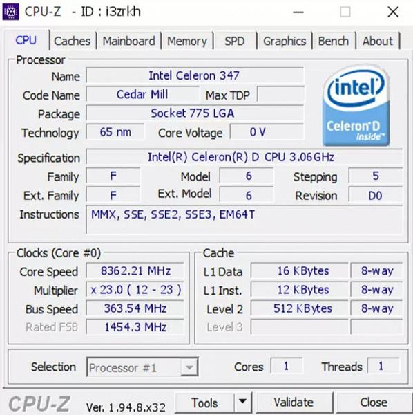 14-летний процессор Intel разогнали до 8,36 ГГц
