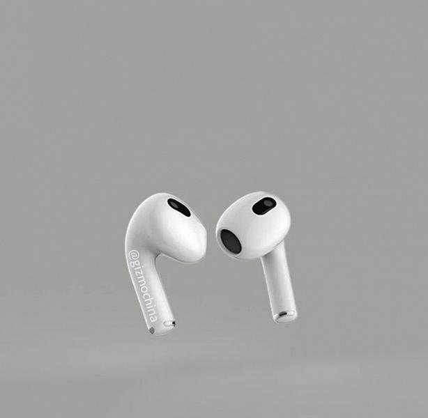 Беспроводные наушники Apple AirPods 3 на рендерах от поставщика компонентов. Премьера ожидается 23 марта