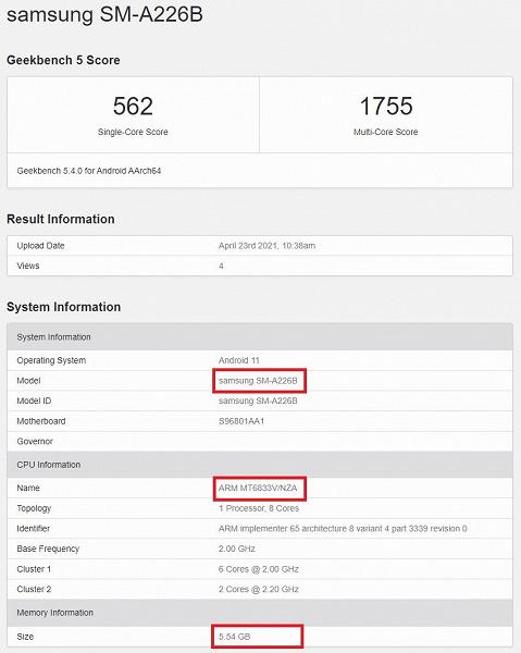 Раскрыты характеристики и стоимость Galaxy A22 5G самого дешёвого смартфона Samsung c поддержкой сетей пятого поколения
