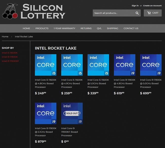 5,1 ГГц при восьми активных ядрах за 880 долларов. В США стартовали продажи скальпированных Core i9-11900K и Core i5-11600K