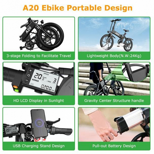 Представлен электровелосипед ADO A20 со съёмным аккумулятором и запасом хода 80 км
