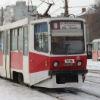 В центре Омска столпились трамваи трех маршрутов