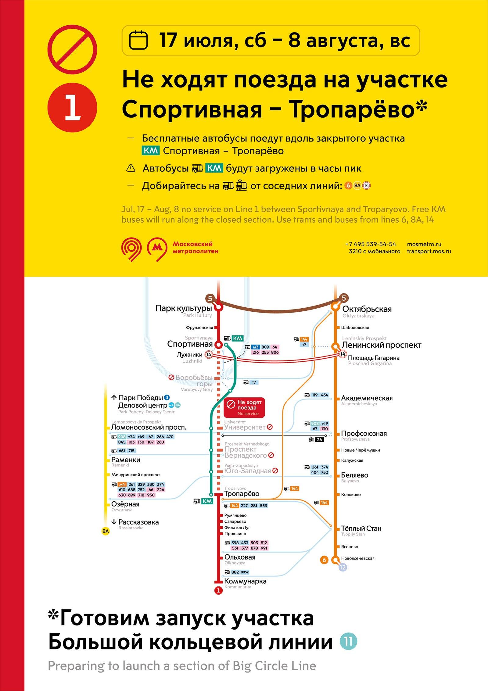 Закрытие участка «Спортивная» — «Тропарево»: где в Москве ограничат движение и как добраться до метро