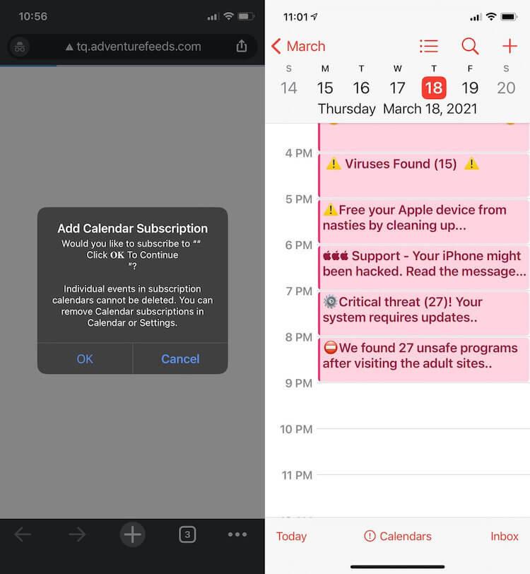 Появился спам в календаре Apple. Что делать