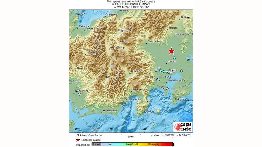 В самом густонаселенном регионе Японии зафиксировано землетрясение магнитудой 4,8