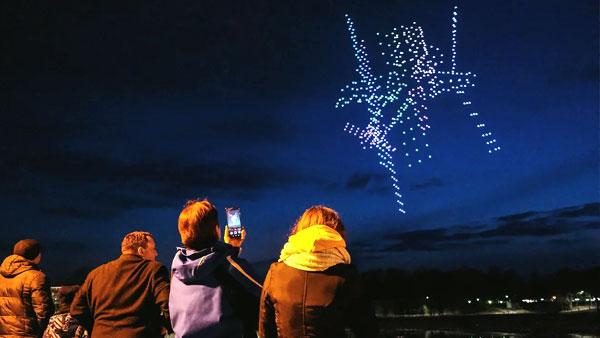 РДШ устроило в Великом Новгороде шоу дронов в честь 60-летия полета Гагарина