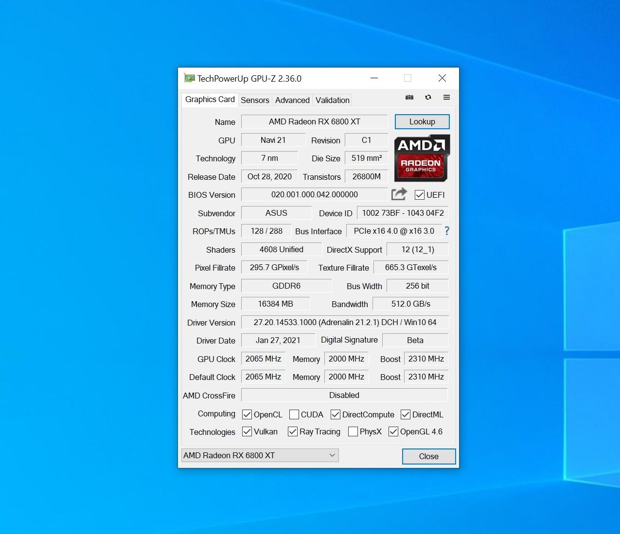 Обзор видеокарты ASUS TUF Gaming Radeon RX 6800 XT