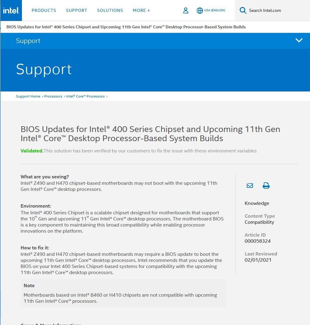 Чипсеты Intel B460 и H410 не будут поддерживать процессоры 11-ого поколения