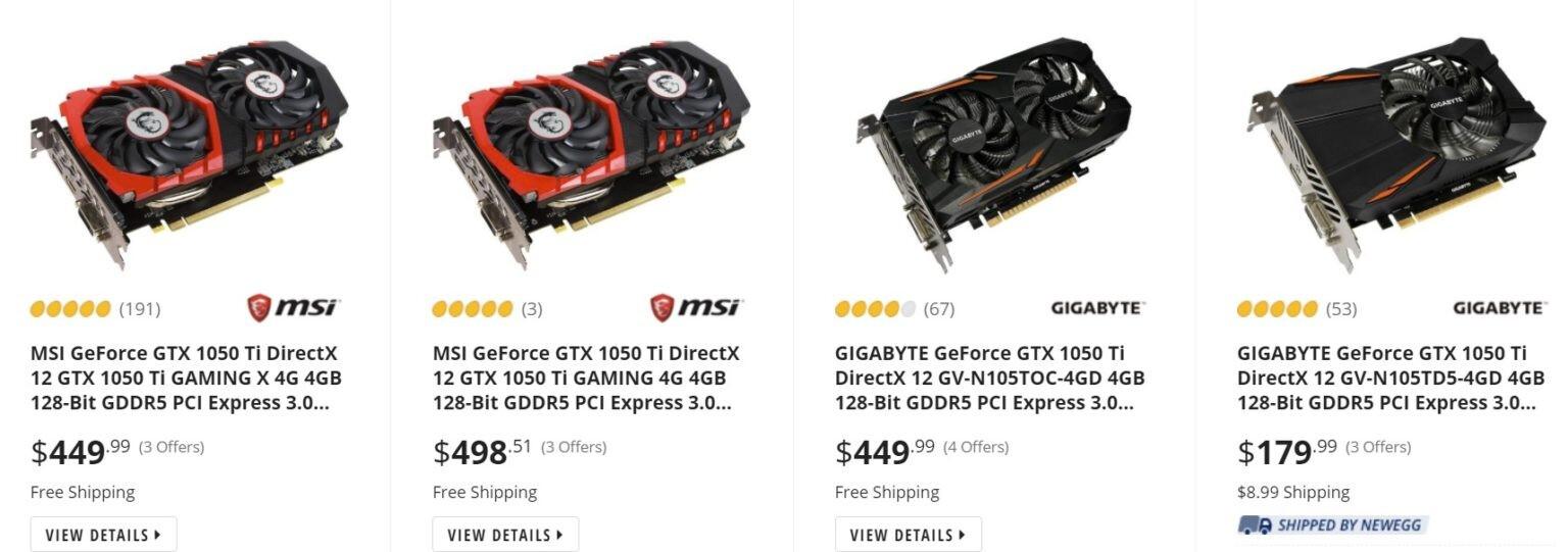 Видеокарты GeForce GTX 1050 Ti появились в продаже, но цена не радует