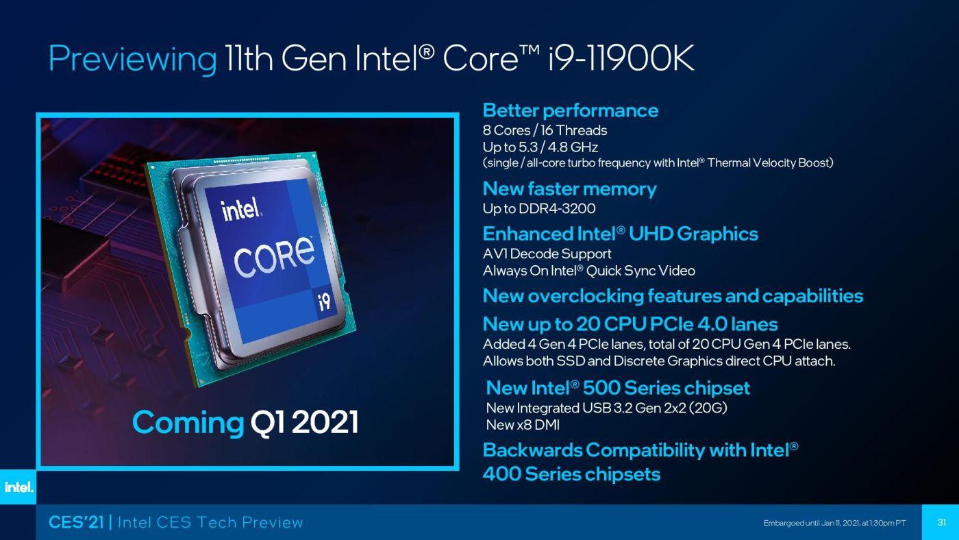 Одиннадцатое поколение процессоров Intel Rocket Lake официально представят 30 марта