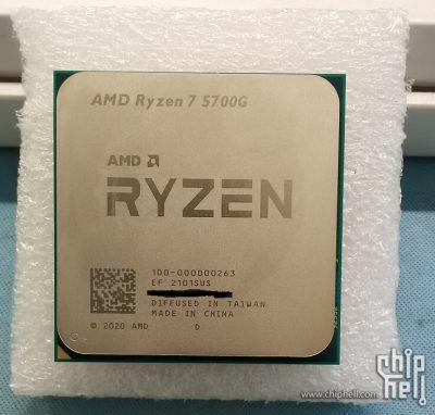 AMD Ryzen 7 5700G: фотография и тестовые результаты в CPU-Z и Cinebench R20