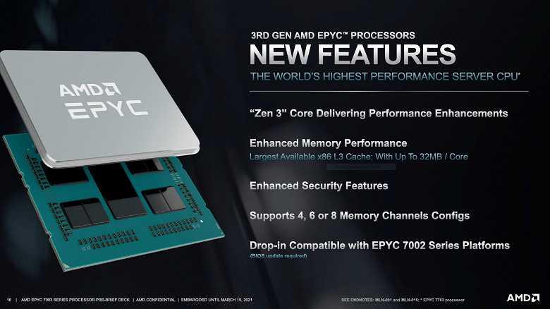 Cерверные процессоры AMD Epyc 7003: До 64 ядер частотой до 4,1 ГГц