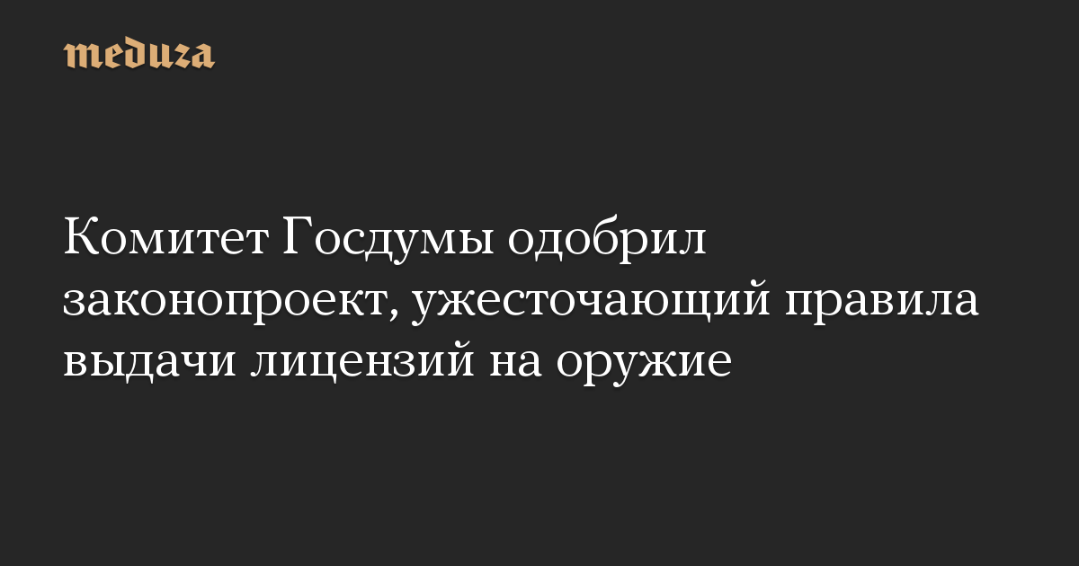 Комитет Госдумы одобрил законопроект, ужесточающий правила выдачи лицензий на оружие
