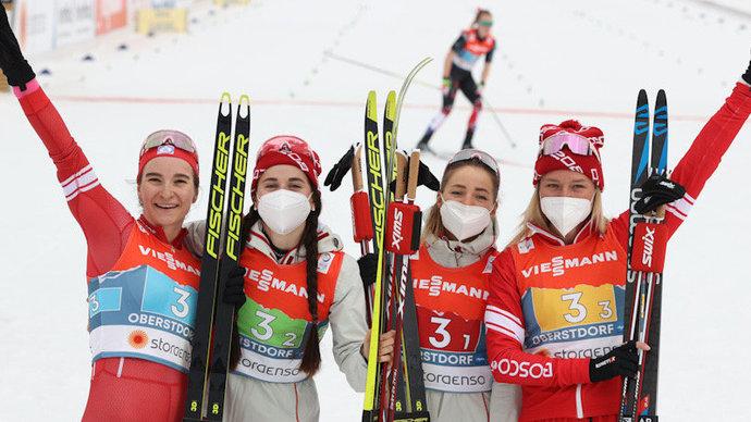 Российские лыжницы стали вторыми в эстафете на чемпионате мира