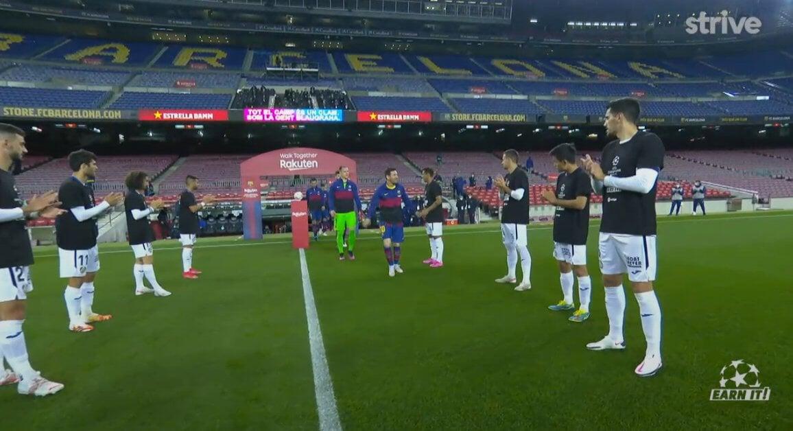 Игроки «Хетафе» в футболках против Суперлиги устроили «Барсе» чемпионский коридор за победу в Кубке