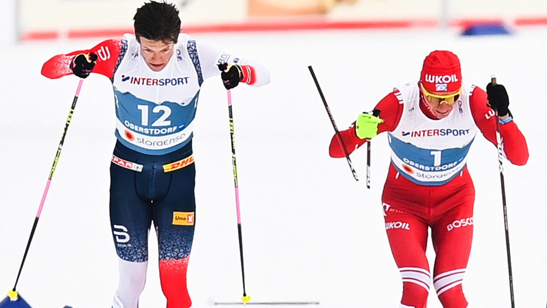 Скандал на финише марафона на ЧМ. Клэбо сломал палку Большунову, его дисквалифицировали. Но у Саши лишь серебро