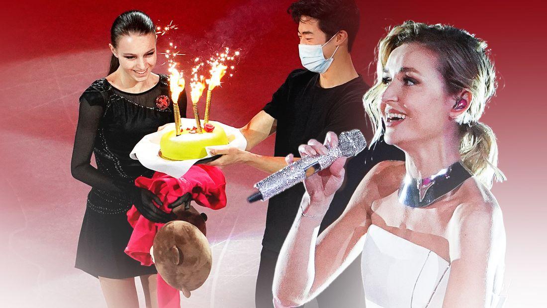Щербакова получила торт на ДР прямо на льду от гения Чена, Гагарина спела вживую гимн ЧМ. Фото гала-шоу из Швеции