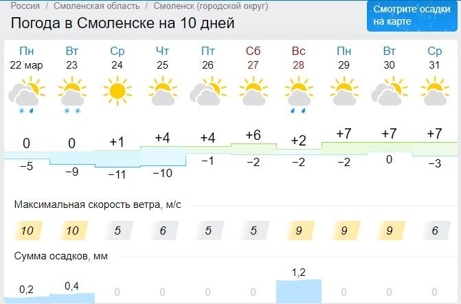 Подморозит. Какой будет погода в Смоленской области во вторник