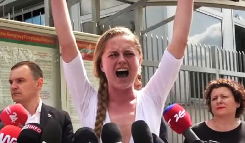 Соратница Протасевича минутным криком поддержала его у Посольства Белоруссии